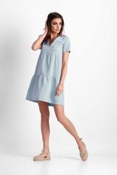 Błękitna letnia sukienka z  falbankami z dekoltem v