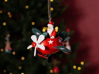 Ozdoba świąteczna na choinkę  zawieszka choinkowa metalowa altom design mikołaj w samolocie na sprężynie