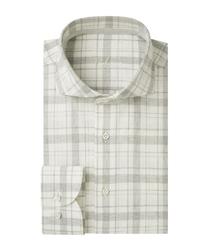 Męska szara koszula w kratę z recyklingu popelina 45
