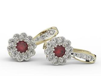 Kolczyki z żółtego i białego złota z rubinami i diamentami jpk-95b