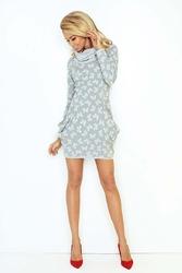 Biała sukienka mini z golfem i kieszeniami
