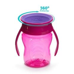 Kubek niekapek 360°  wow cup przejściowy - różowy 207 ml