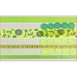 Zestaw wstążek i guzików - seledynowy - sel
