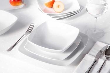 Zestaw obiadowy dla 6 osób kwadratowy porcelana mariapaula moderna biała 18 elementów