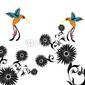 Obraz na płótnie canvas trzyczęściowy tryptyk kwiat i kolibri