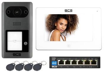 Zestaw wideodomofon ip bcs-pan1401g-s monitor 7 bcs-mon7300w-s + 4 breloki