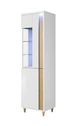 Szafka witryna Cruz II 52 cm biała z ledem prawa