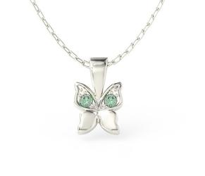 Wisiorek w kształcie motyla z białego złota z zielonymi cyrkoniami bpw-88b-c - białe