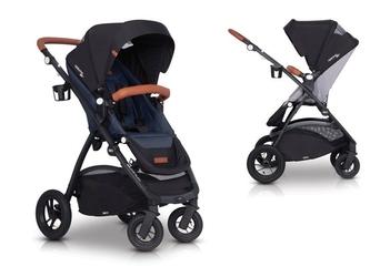 Easygo optimo air denim wózek do 22 kg z obracanym siedziskiem na pompowanych kołach + torba dla mamy gratis