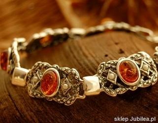 Iris - srebrna bransoletka z bursztynami i perłami