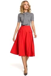 Rozkloszowana spódnica midi z kieszeniami czerwona m321
