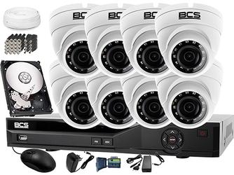 Zestaw do monitoringu: rejestrator bcs-xvr16014ke-ii + 8x bcs-dmhc1401ir + dysk 1tb + akcesoria