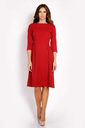 Bordo sukienka rozkloszowana z rękawem 34