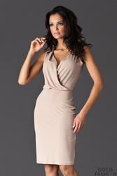 Beżowa Sukienka przed Kolano z Założeniem Kopertowym