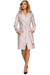 Damski klasyczny płaszcz z paskiem pudrowy m410