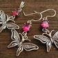 Motylek - srebrny komplet z rubinem