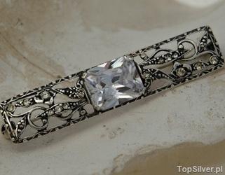 Salva - srebrna broszka z kryształem