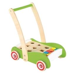Drewniany wózek z klockami, pchacz, sorter