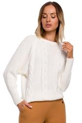 Klasyczny sweter z okrągłym dekoltem ecru