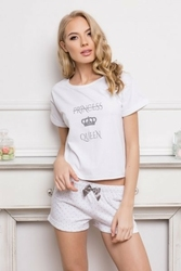 Aruelle princess queen short dots amp; white piżama damska