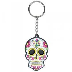 Meksykańska czaszka biała - breloczek do kluczy