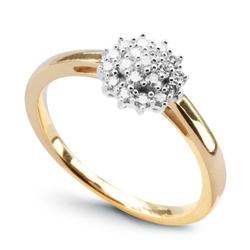 Staviori pierścionek z diamentami w dużej koronie z żółtego, białego złota 0,585.