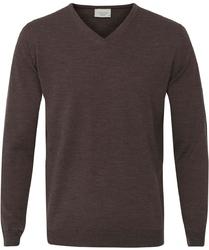 Sweter  pulower v-neck z wełny z merynosów w kolorze kasztanowym xl
