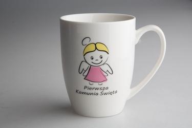 Kubek porcelanowy na prezent altom design i komunia święta 320 ml, dekoracja różowy anioł