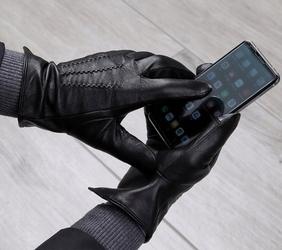Rękawiczki skóra cielęca męskie dotykowe ocieplane miś rkw3-l rozm.l