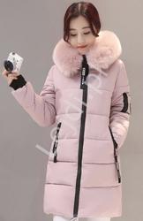 Pikowana dłuższa kurtka z futerkiem na kapturze z napisem disney