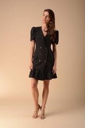 Elegancka sukienka zapinana na guziki czarna