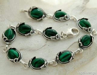 Vita - srebrna bransoletka z malachitami