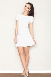 Ecru skromna sukienka z rozkloszowanym dołem  z krótkim rękawem