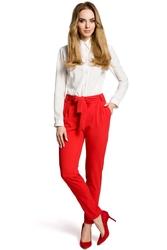 Czerwone eleganckie spodnie typu chino z wiązanym paskiem