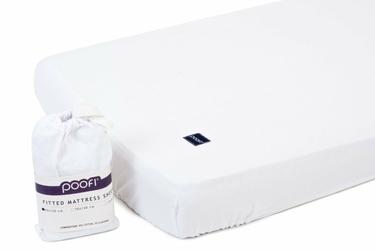 Prześcieradło do łóżeczka bawełniane z gumką POOFI - białe - białe