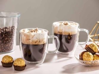 Szklanki  kubki szklane termiczne do kawy i herbaty z podwójną ścianką i dnem altom design andrea, 350 ml komplet 2 szklanek
