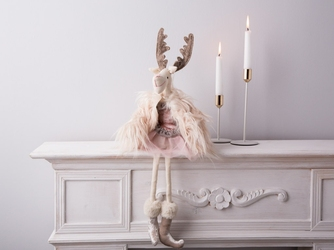Dekoracja świąteczna  ozdoba pluszowa na boże narodzenie altom design łoś  renifer w różowej spódnicy i w futrze dziewczynka 50 cm