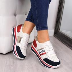 Sneakersy damskie skórzane na platformie białe filippo