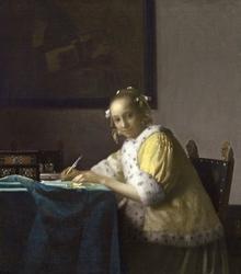 Reprodukcja a lady writing, johannes vermeer