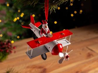 Ozdoba świąteczna na choinkę  zawieszka choinkowa metalowa altom design mikołaj w samolocie