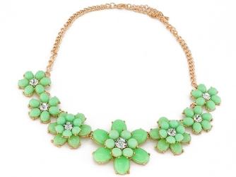 Naszyjnik kolia zielony kwiaty flower - mint