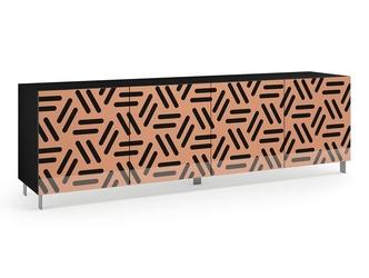 Nowoczesna komoda calisia beżowo-czarna z motywem geometrycznym  szer. 240 cm