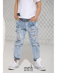 Spodnie jeansowe boyfriend unisex ice dye light blue