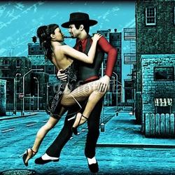 Plakat na papierze fotorealistycznym miejskie tango