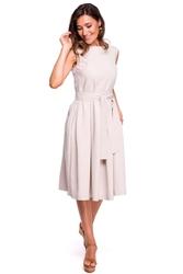 Beżowa szeroka sukienka midi z dekoltem na plecach