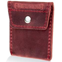 Skórzana bilonówka coin wallet brodrene cw02 czerwona - czerwony