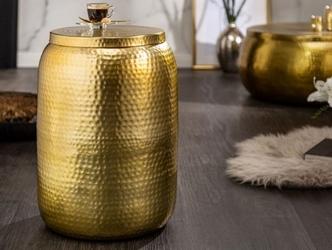Złoty oryginalny stolik kawowy orient z młotkowanego aluminium  35x48x35 cm