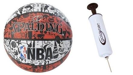 Piłka do koszykówki spalding nba graffiti usa outdoor + pompka tłokowa do piłek z igła