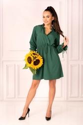 Ciemno zielona sukienka w stylu boho z kopertowym dekoltem
