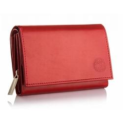 Skórzany damski mały portfel betlewski bpd-dz-11 czerwony